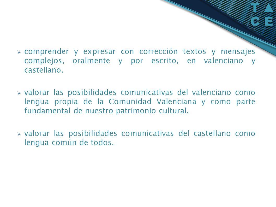 comprender y expresar con corrección textos y mensajes complejos, oralmente y por escrito, en valenciano y castellano. valorar las posibilidades comun