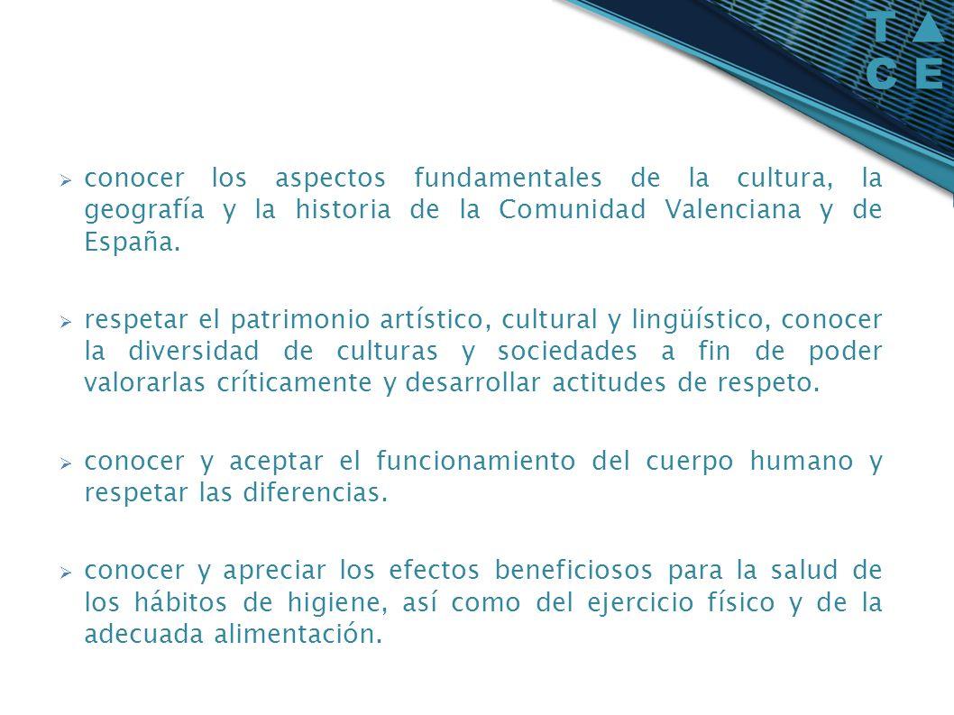 conocer los aspectos fundamentales de la cultura, la geografía y la historia de la Comunidad Valenciana y de España. respetar el patrimonio artístico,