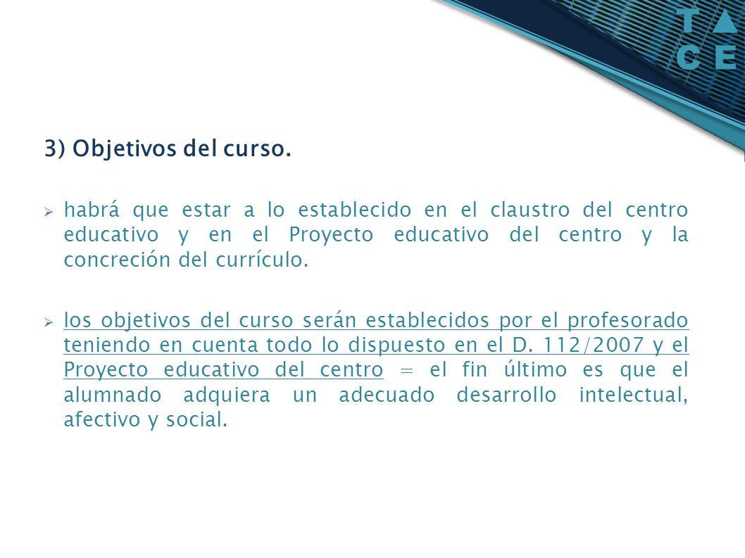 3) Objetivos del curso. habrá que estar a lo establecido en el claustro del centro educativo y en el Proyecto educativo del centro y la concreción del