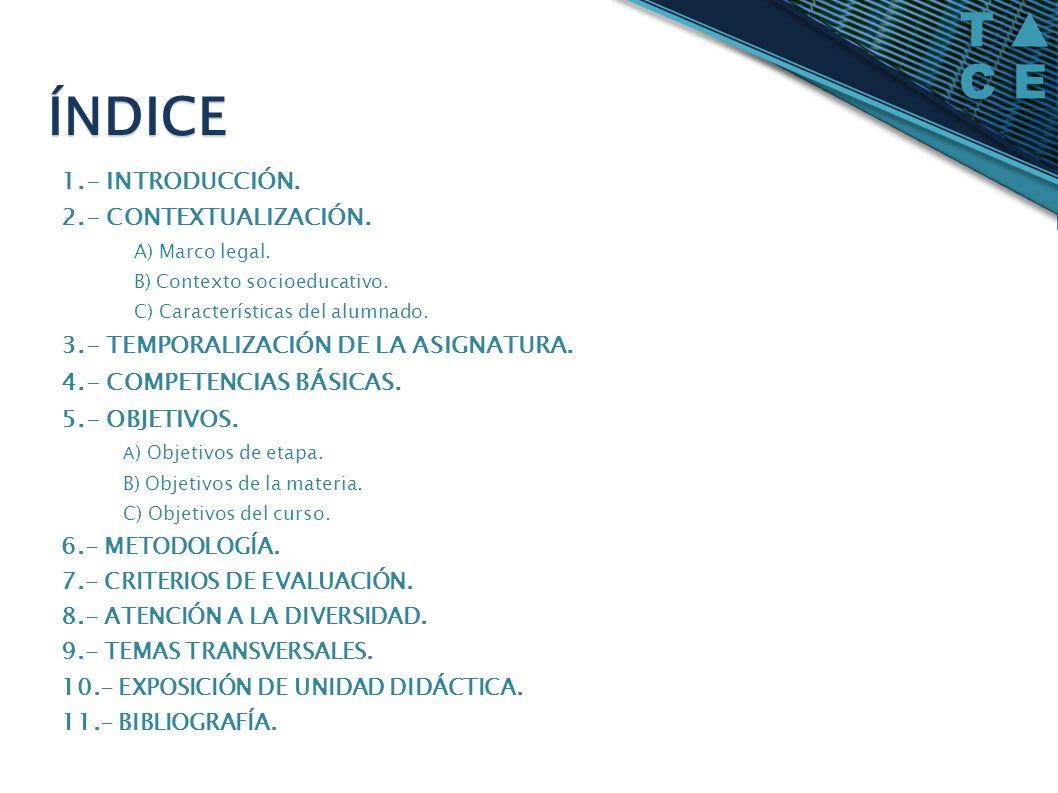 1.- INTRODUCCIÓN. 2.- CONTEXTUALIZACIÓN. A) Marco legal. B) Contexto socioeducativo. C) Características del alumnado. 3.- TEMPORALIZACIÓN DE LA ASIGNA