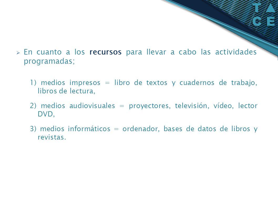 En cuanto a los recursos para llevar a cabo las actividades programadas; 1) medios impresos = libro de textos y cuadernos de trabajo, libros de lectur