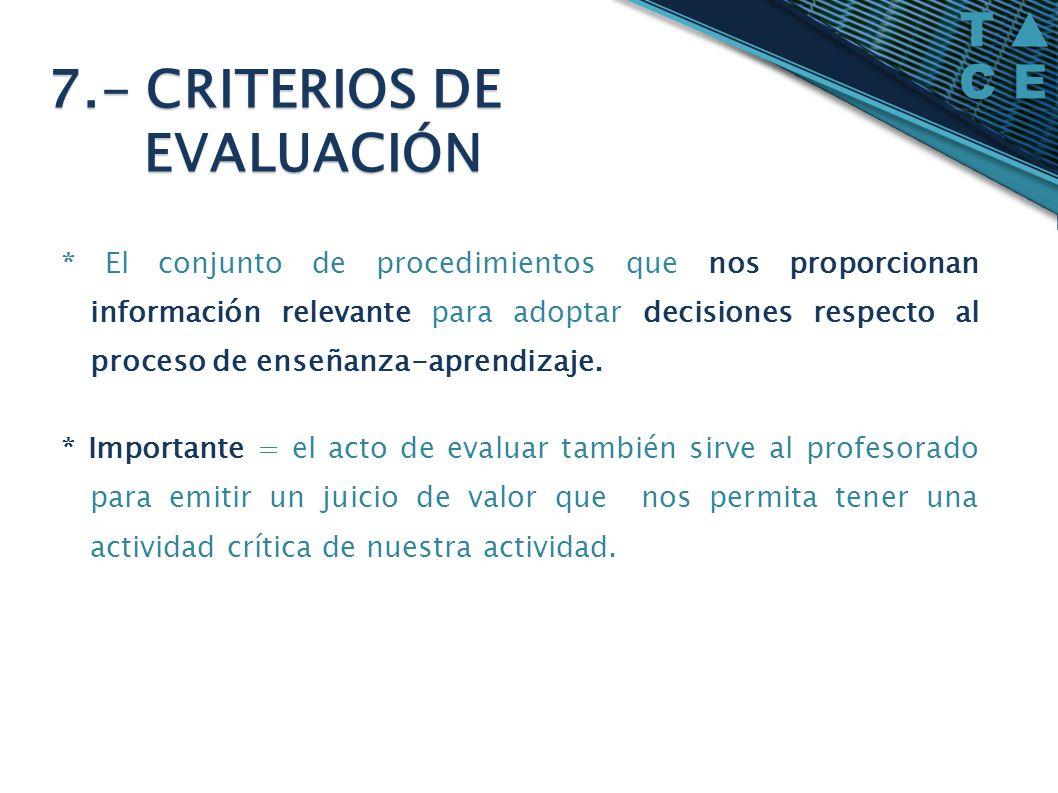 * El conjunto de procedimientos que nos proporcionan información relevante para adoptar decisiones respecto al proceso de enseñanza-aprendizaje. * Imp