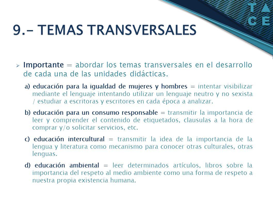 Importante = abordar los temas transversales en el desarrollo de cada una de las unidades didácticas. a) educación para la igualdad de mujeres y hombr