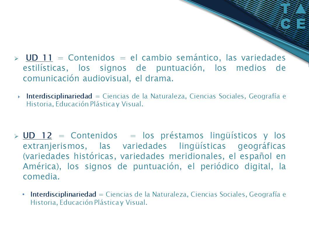 UD 11 = Contenidos = el cambio semántico, las variedades estilísticas, los signos de puntuación, los medios de comunicación audiovisual, el drama. Int