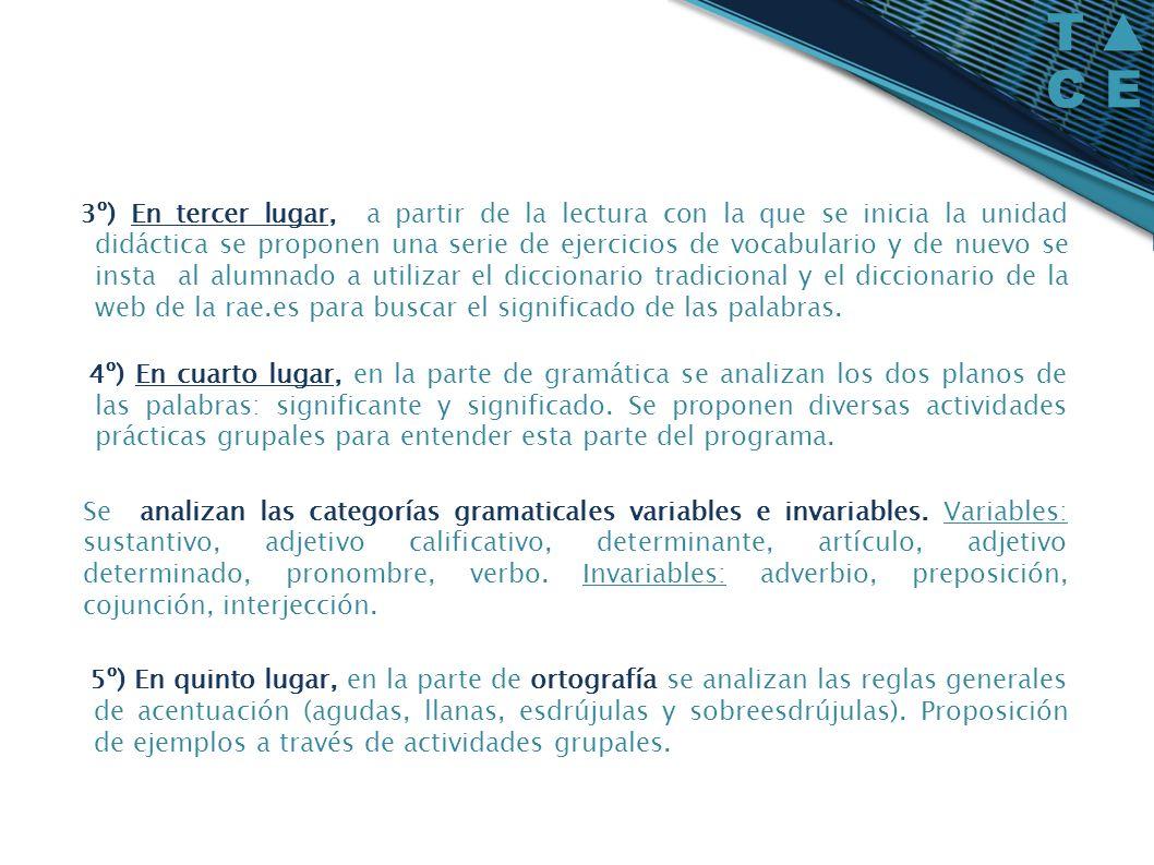 3º) En tercer lugar, a partir de la lectura con la que se inicia la unidad didáctica se proponen una serie de ejercicios de vocabulario y de nuevo se