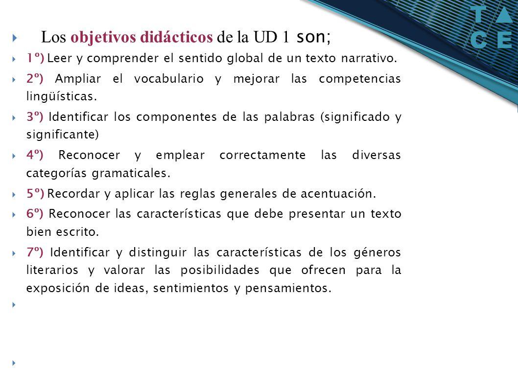 Los objetivos didácticos de la UD 1 son; 1º) Leer y comprender el sentido global de un texto narrativo. 2º) Ampliar el vocabulario y mejorar las compe