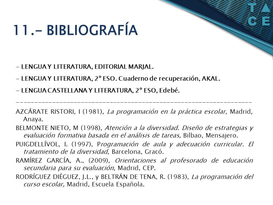 - LENGUA Y LITERATURA, EDITORIAL MARJAL. - LENGUA Y LITERATURA, 2º ESO. Cuaderno de recuperación, AKAL. - LENGUA CASTELLANA Y LITERATURA, 2º ESO, Edeb