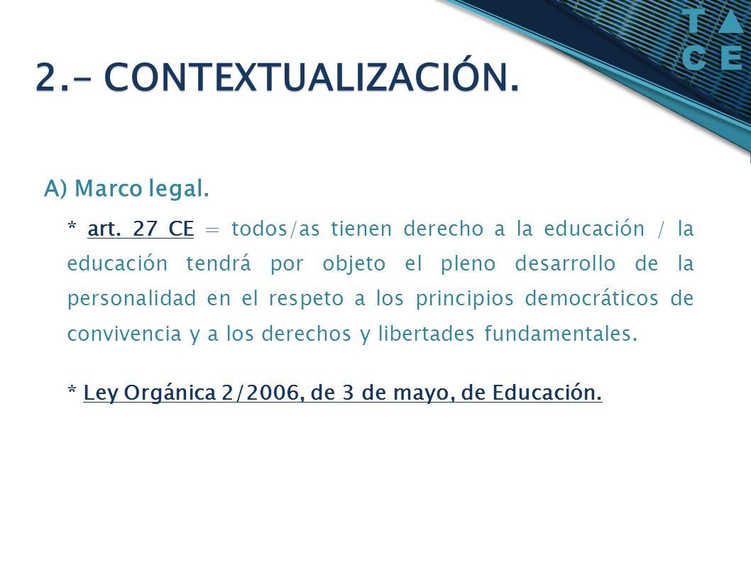 A) Marco legal. * art. 27 CE = todos/as tienen derecho a la educación / la educación tendrá por objeto el pleno desarrollo de la personalidad en el re