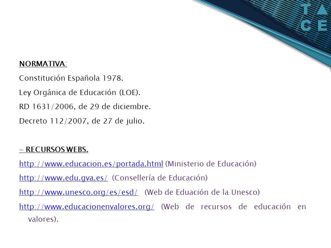 NORMATIVA: Constitución Española 1978. Ley Orgánica de Educación (LOE). RD 1631/2006, de 29 de diciembre. Decreto 112/2007, de 27 de julio. - RECURSOS