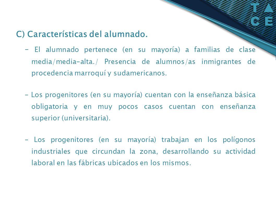 C) Características del alumnado. - El alumnado pertenece (en su mayoría) a familias de clase media/media-alta./ Presencia de alumnos/as inmigrantes de