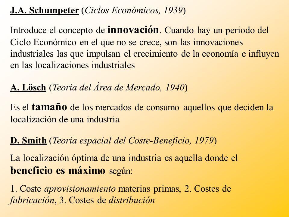 J.A. Schumpeter (Ciclos Económicos, 1939) Introduce el concepto de innovación. Cuando hay un periodo del Ciclo Económico en el que no se crece, son la