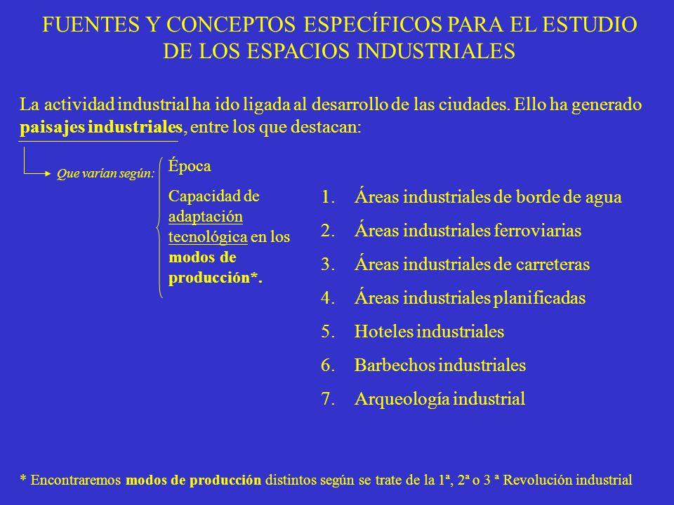 FUENTES Y CONCEPTOS ESPECÍFICOS PARA EL ESTUDIO DE LOS ESPACIOS INDUSTRIALES La actividad industrial ha ido ligada al desarrollo de las ciudades. Ello