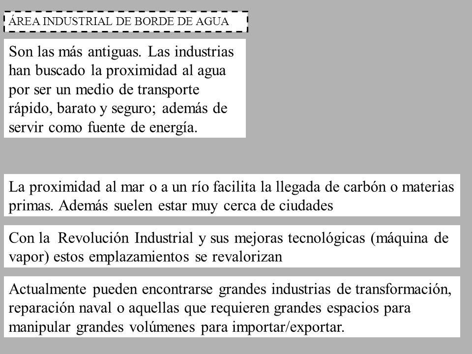 ÁREA INDUSTRIAL DE BORDE DE AGUA Son las más antiguas. Las industrias han buscado la proximidad al agua por ser un medio de transporte rápido, barato