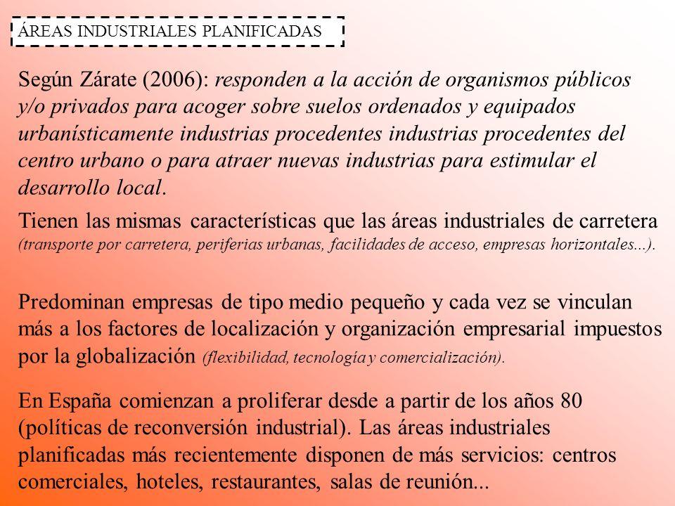 ÁREAS INDUSTRIALES PLANIFICADAS Según Zárate (2006): responden a la acción de organismos públicos y/o privados para acoger sobre suelos ordenados y eq