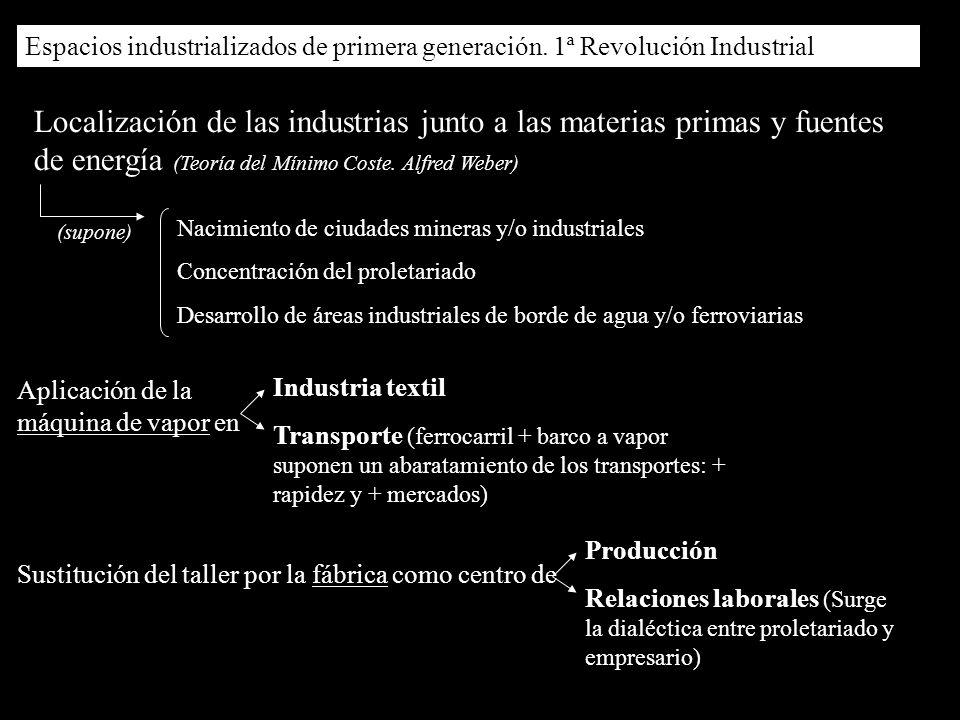(supone) Localización de las industrias junto a las materias primas y fuentes de energía (Teoría del Mínimo Coste. Alfred Weber) Nacimiento de ciudade