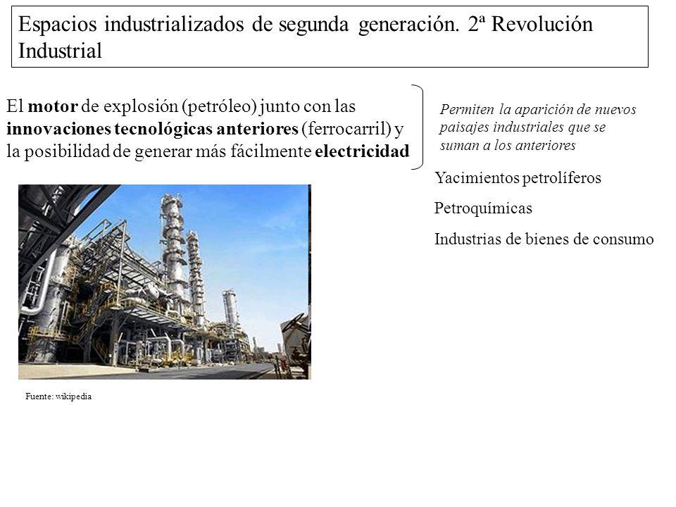 Espacios industrializados de segunda generación. 2ª Revolución Industrial El motor de explosión (petróleo) junto con las innovaciones tecnológicas ant