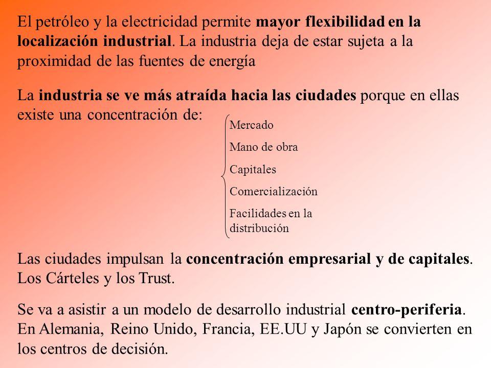 El petróleo y la electricidad permite mayor flexibilidad en la localización industrial. La industria deja de estar sujeta a la proximidad de las fuent
