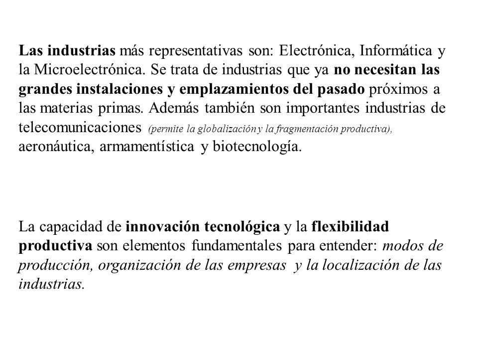 Las industrias más representativas son: Electrónica, Informática y la Microelectrónica. Se trata de industrias que ya no necesitan las grandes instala