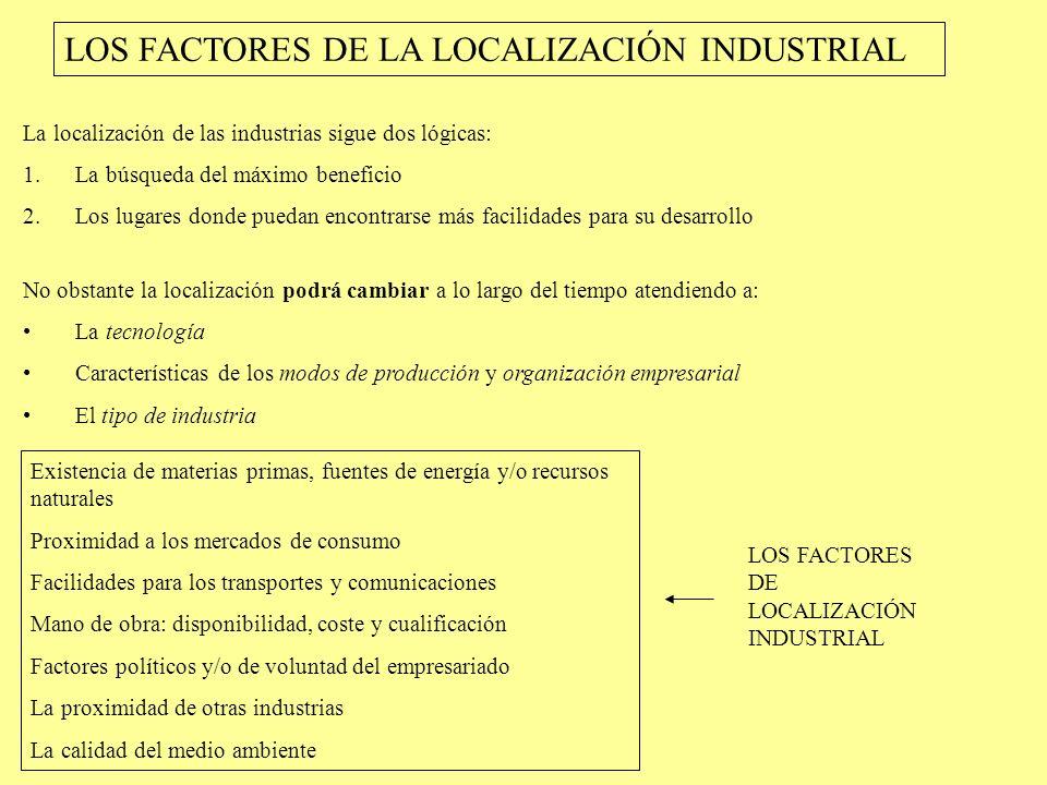 LOS FACTORES DE LA LOCALIZACIÓN INDUSTRIAL La localización de las industrias sigue dos lógicas: 1.La búsqueda del máximo beneficio 2.Los lugares donde