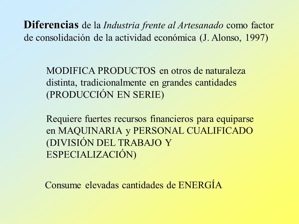 Diferencias Diferencias de la Industria frente al Artesanado como factor de consolidación de la actividad económica (J. Alonso, 1997) Consume elevadas