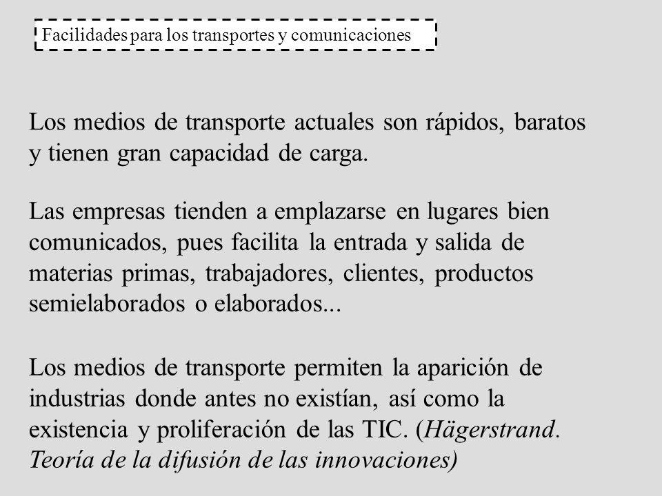 Facilidades para los transportes y comunicaciones Los medios de transporte actuales son rápidos, baratos y tienen gran capacidad de carga. Las empresa