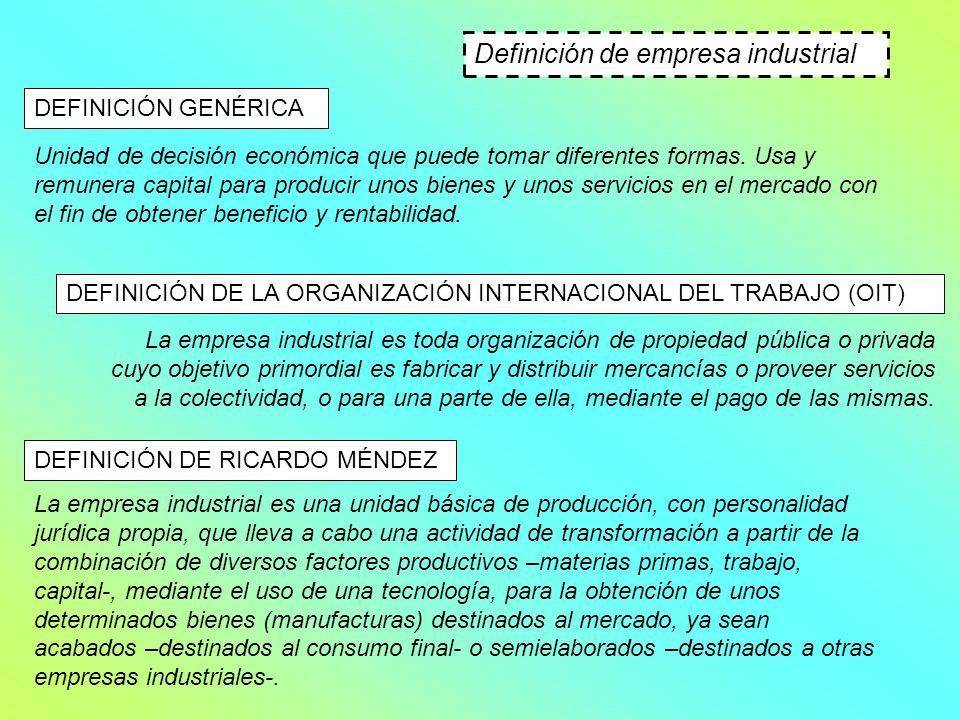 Definición de empresa industrial DEFINICIÓN GENÉRICA Unidad de decisión económica que puede tomar diferentes formas. Usa y remunera capital para produ