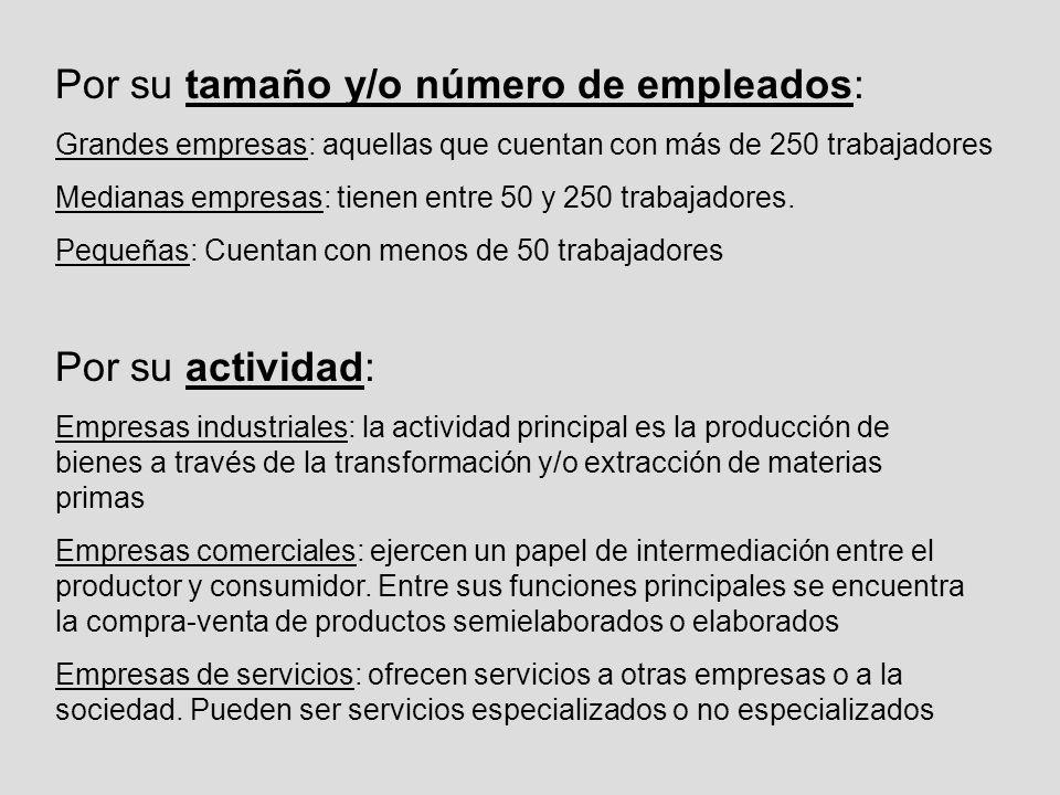 Por su tamaño y/o número de empleados: Grandes empresas: aquellas que cuentan con más de 250 trabajadores Medianas empresas: tienen entre 50 y 250 tra