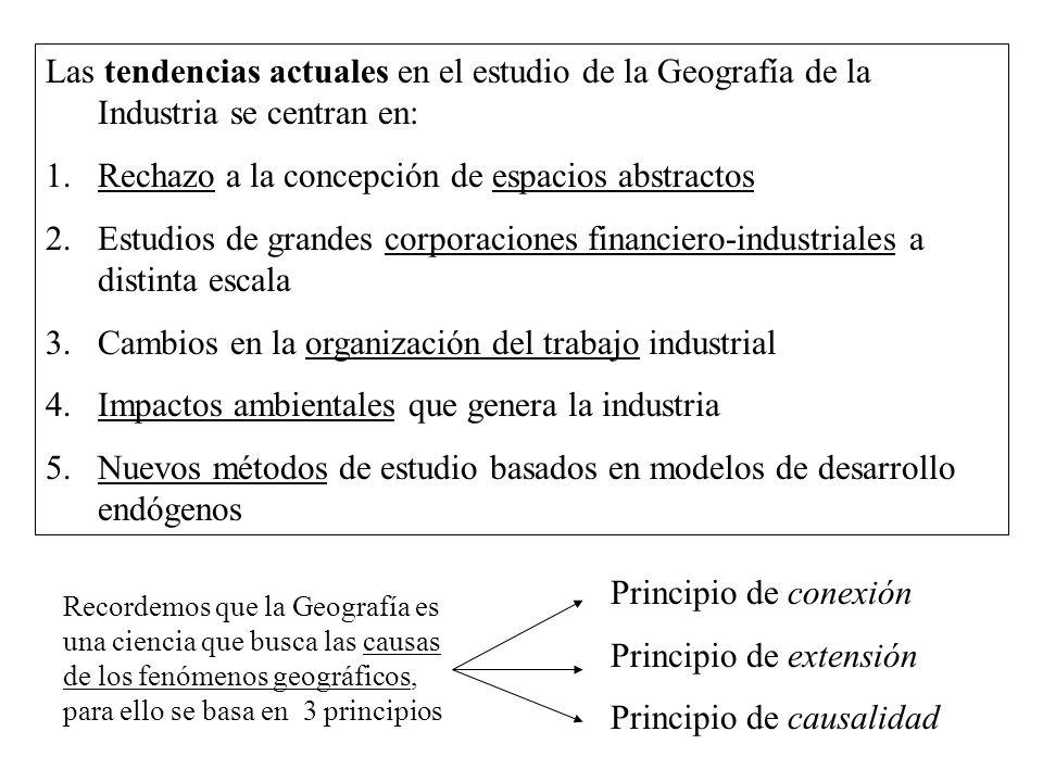 Las tendencias actuales en el estudio de la Geografía de la Industria se centran en: 1.Rechazo a la concepción de espacios abstractos 2.Estudios de gr