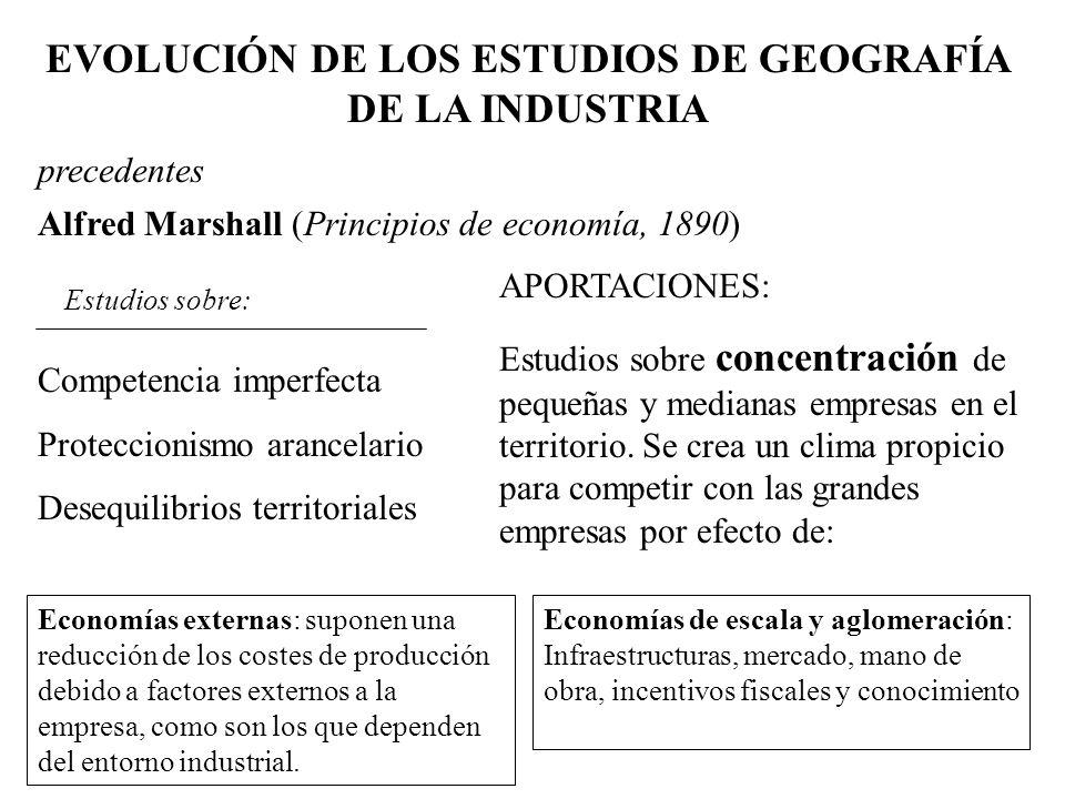 EVOLUCIÓN DE LOS ESTUDIOS DE GEOGRAFÍA DE LA INDUSTRIA precedentes Alfred Marshall (Principios de economía, 1890) Competencia imperfecta Proteccionism