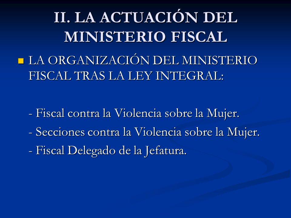 II. LA ACTUACIÓN DEL MINISTERIO FISCAL LA ORGANIZACIÓN DEL MINISTERIO FISCAL TRAS LA LEY INTEGRAL: LA ORGANIZACIÓN DEL MINISTERIO FISCAL TRAS LA LEY I