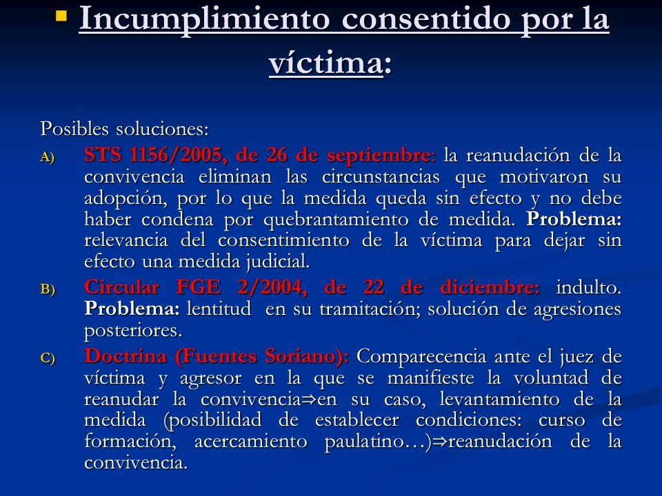 Incumplimiento consentido por la víctima: Incumplimiento consentido por la víctima: Posibles soluciones: A) STS 1156/2005, de 26 de septiembre: la rea