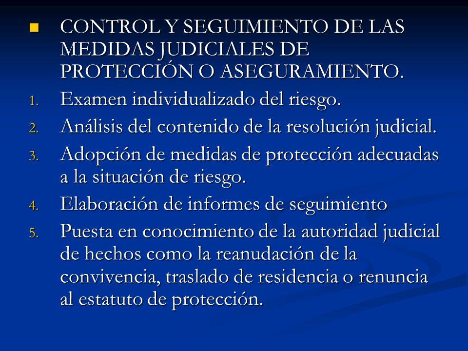 CONTROL Y SEGUIMIENTO DE LAS MEDIDAS JUDICIALES DE PROTECCIÓN O ASEGURAMIENTO. CONTROL Y SEGUIMIENTO DE LAS MEDIDAS JUDICIALES DE PROTECCIÓN O ASEGURA