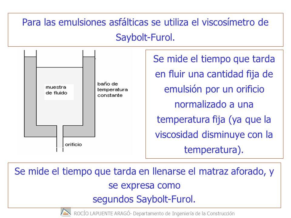 ROCÍO LAPUENTE ARAGÓ- Departamento de Ingeniería de la Construcción Para las emulsiones asfálticas se utiliza el viscosímetro de Saybolt-Furol. Se mid