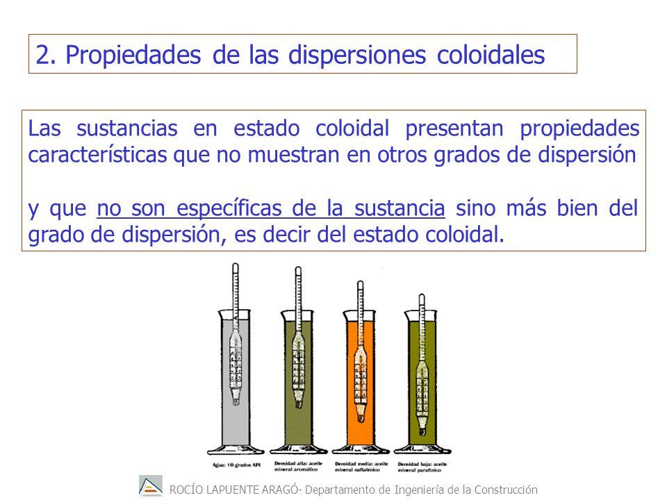 ROCÍO LAPUENTE ARAGÓ- Departamento de Ingeniería de la Construcción 2. Propiedades de las dispersiones coloidales Las sustancias en estado coloidal pr