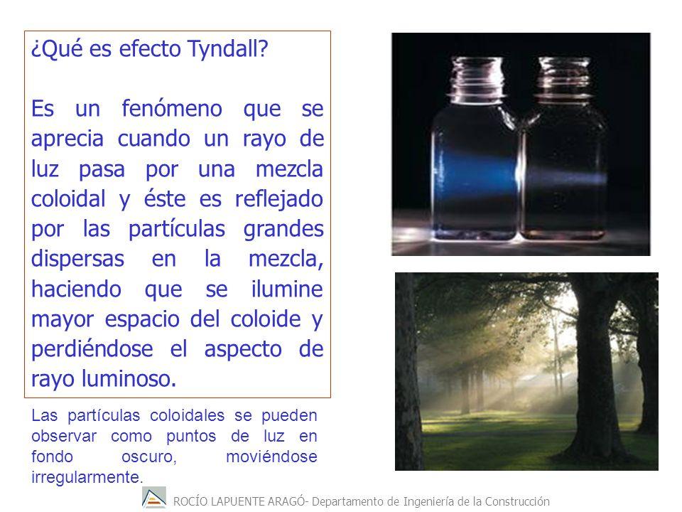 ROCÍO LAPUENTE ARAGÓ- Departamento de Ingeniería de la Construcción ¿Qué es efecto Tyndall? Es un fenómeno que se aprecia cuando un rayo de luz pasa p