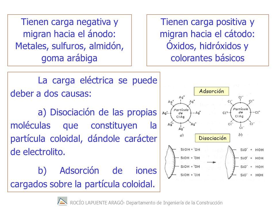 ROCÍO LAPUENTE ARAGÓ- Departamento de Ingeniería de la Construcción La carga eléctrica se puede deber a dos causas: a) Disociación de las propias molé