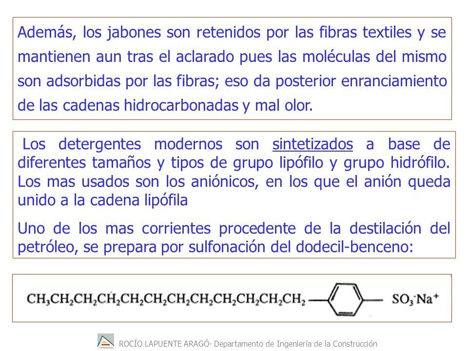 ROCÍO LAPUENTE ARAGÓ- Departamento de Ingeniería de la Construcción Además, los jabones son retenidos por las fibras textiles y se mantienen aun tras