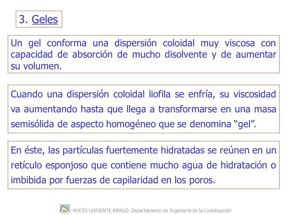 ROCÍO LAPUENTE ARAGÓ- Departamento de Ingeniería de la Construcción 3. Geles Un gel conforma una dispersión coloidal muy viscosa con capacidad de abso