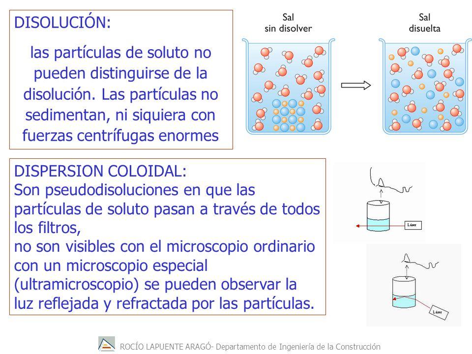 ROCÍO LAPUENTE ARAGÓ- Departamento de Ingeniería de la Construcción DISPERSION COLOIDAL: Son pseudodisoluciones en que las partículas de soluto pasan
