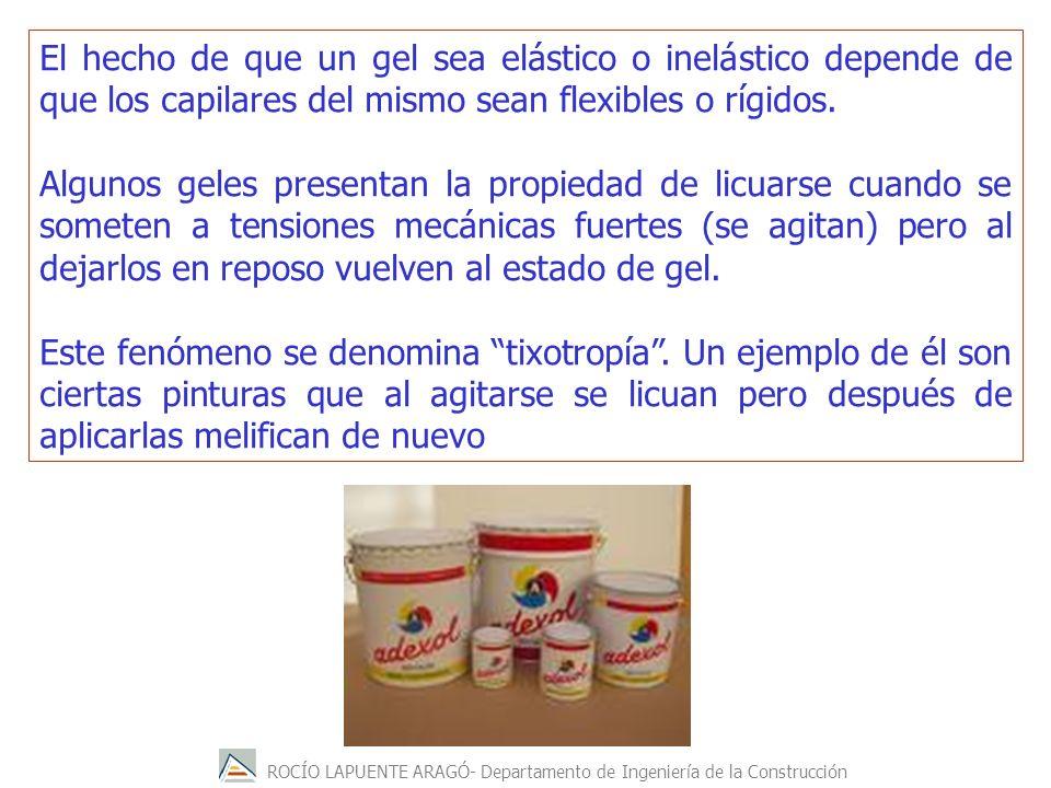 ROCÍO LAPUENTE ARAGÓ- Departamento de Ingeniería de la Construcción El hecho de que un gel sea elástico o inelástico depende de que los capilares del