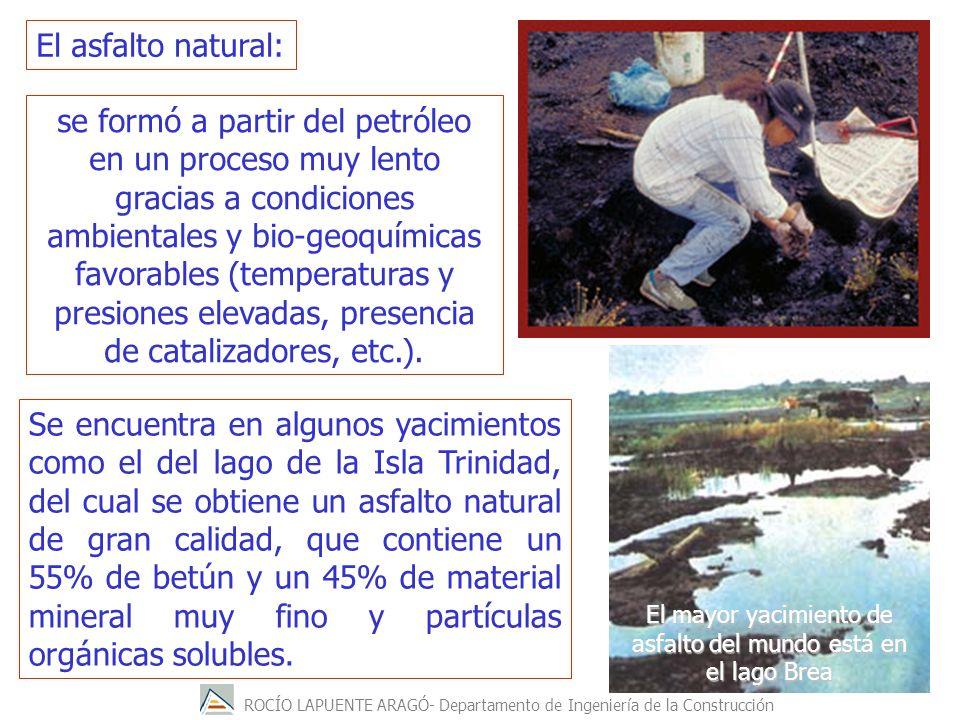 ROCÍO LAPUENTE ARAGÓ- Departamento de Ingeniería de la Construcción El asfalto natural: se formó a partir del petróleo en un proceso muy lento gracias