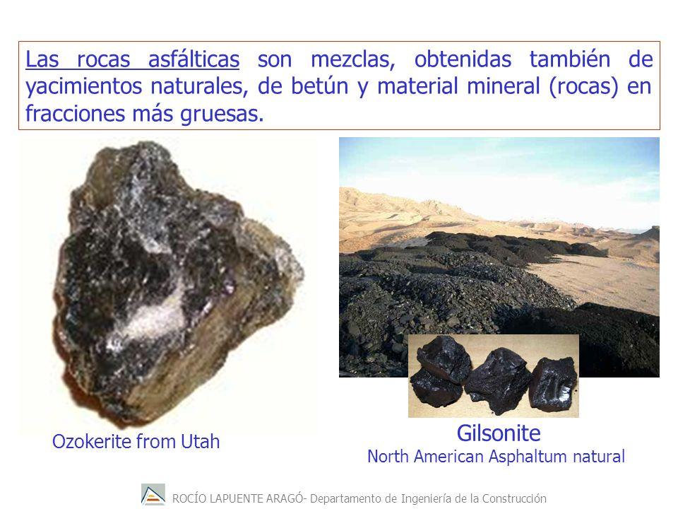 Las rocas asfálticas son mezclas, obtenidas también de yacimientos naturales, de betún y material mineral (rocas) en fracciones más gruesas. Ozokerite