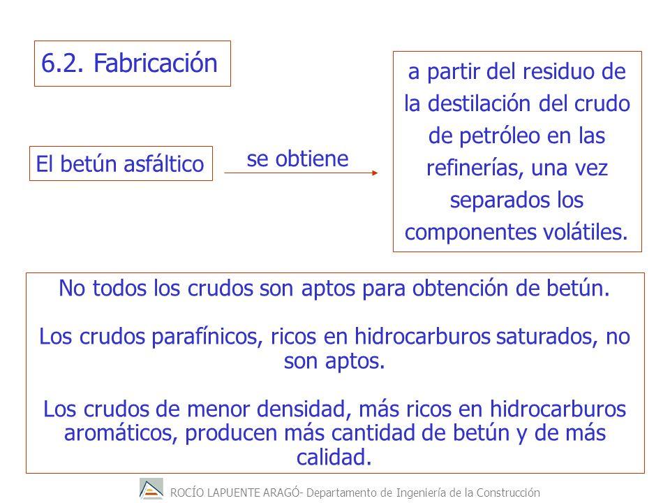 ROCÍO LAPUENTE ARAGÓ- Departamento de Ingeniería de la Construcción No todos los crudos son aptos para obtención de betún. Los crudos parafínicos, ric