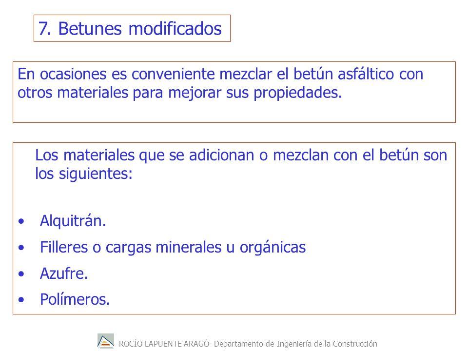 ROCÍO LAPUENTE ARAGÓ- Departamento de Ingeniería de la Construcción En ocasiones es conveniente mezclar el betún asfáltico con otros materiales para m