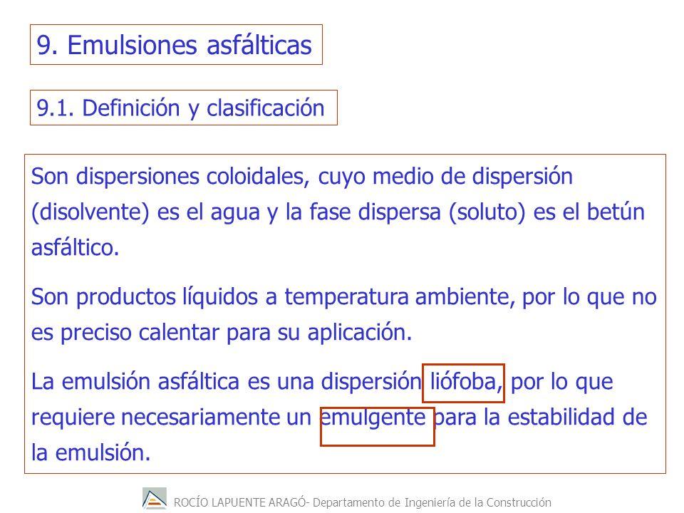 ROCÍO LAPUENTE ARAGÓ- Departamento de Ingeniería de la Construcción 9.1. Definición y clasificación Son dispersiones coloidales, cuyo medio de dispers