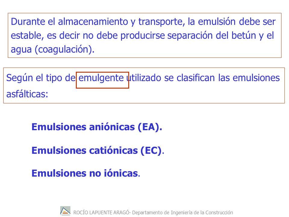 ROCÍO LAPUENTE ARAGÓ- Departamento de Ingeniería de la Construcción Durante el almacenamiento y transporte, la emulsión debe ser estable, es decir no