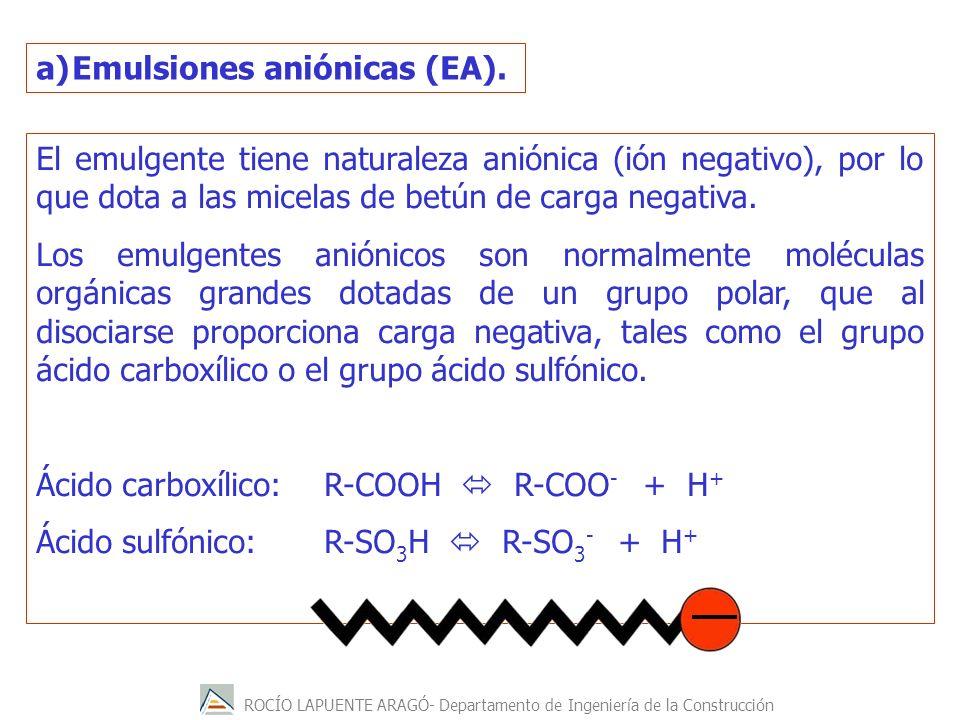 ROCÍO LAPUENTE ARAGÓ- Departamento de Ingeniería de la Construcción a)Emulsiones aniónicas (EA). El emulgente tiene naturaleza aniónica (ión negativo)