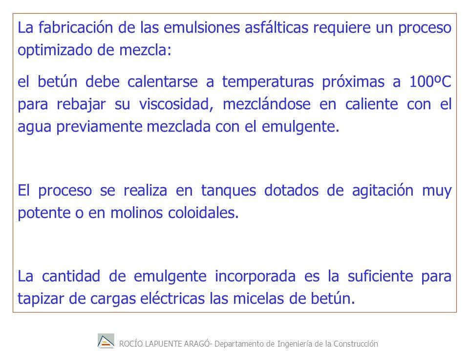 ROCÍO LAPUENTE ARAGÓ- Departamento de Ingeniería de la Construcción La fabricación de las emulsiones asfálticas requiere un proceso optimizado de mezc