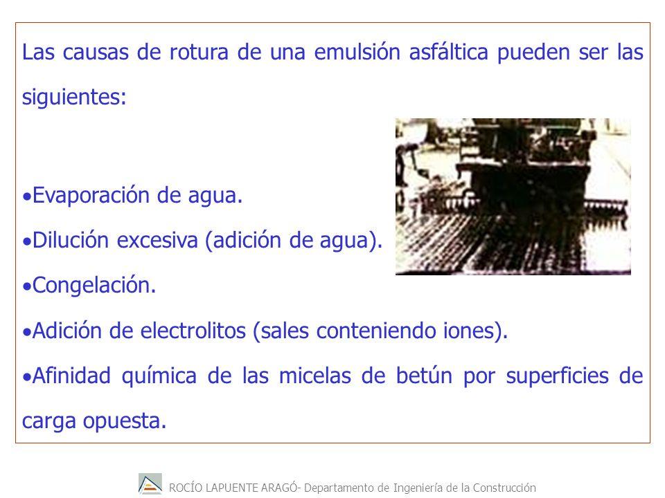 ROCÍO LAPUENTE ARAGÓ- Departamento de Ingeniería de la Construcción Las causas de rotura de una emulsión asfáltica pueden ser las siguientes: Evaporac