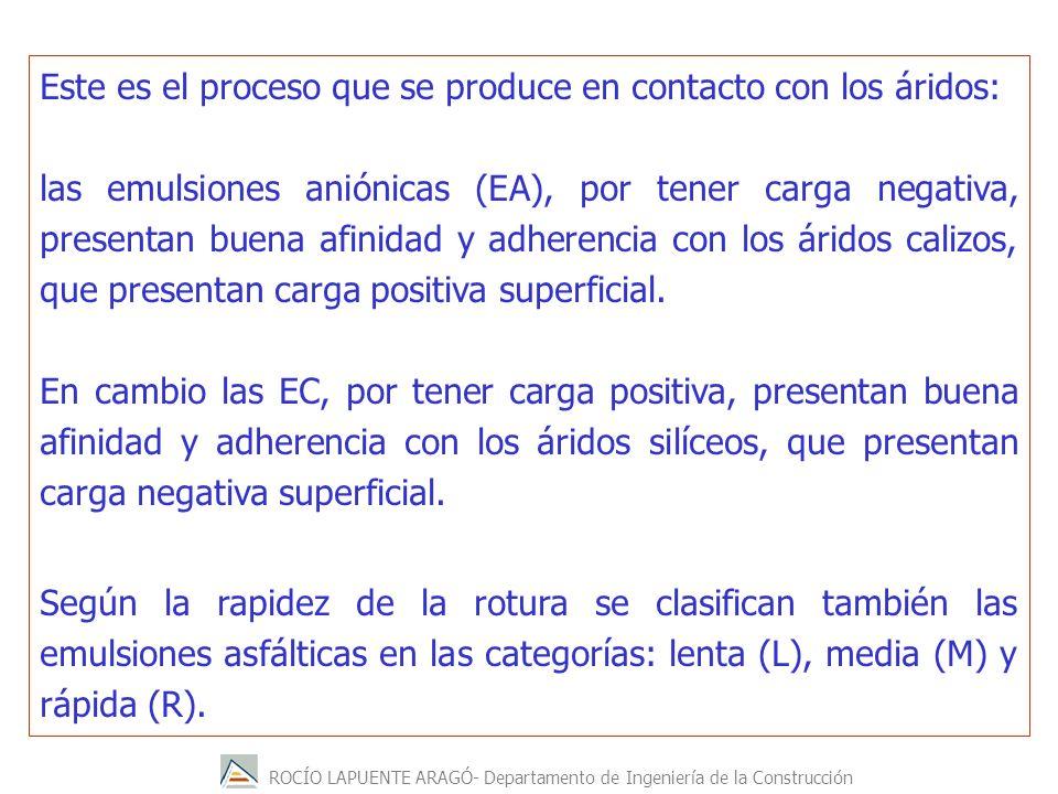 ROCÍO LAPUENTE ARAGÓ- Departamento de Ingeniería de la Construcción Este es el proceso que se produce en contacto con los áridos: las emulsiones anión